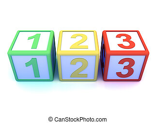 3d Wooden counting blocks - 3d render of wooden counting...