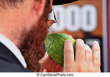 The orthodox Jew before the Sukkot - Bnei Brak - September...