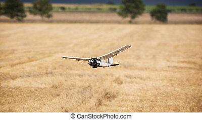 Rc model aircraft at flight.