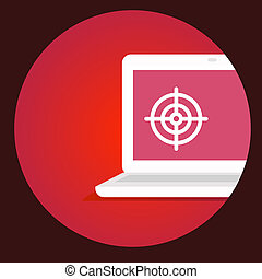 vector illustration laptop with the target on the screen on a re