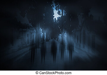 Full moon ghosts - Ghosts passing on the main street of an...