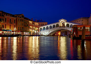 Rialto Bridge Ponte Rialto on Canal Grande in Venice - Night...