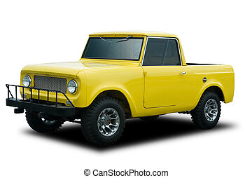 Yellow Truck - A Big Yellow 4x4 Truck Isolated on White
