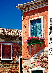 murano, janelas, Veneto, Itália