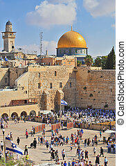 Prayer in the holiday of Sukkot - JERUSALEM, ISRAEL -...