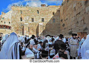 The Western Wall of the Temple in Jerusalem - JERUSALEM,...