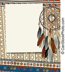 Dream catcher card 2 - Text card, collage with american...
