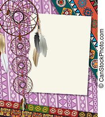 Dream catcher card 3 - Text card, collage with american...