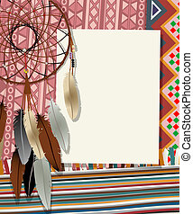 Dream catcher card 4 - Text card, collage with american...