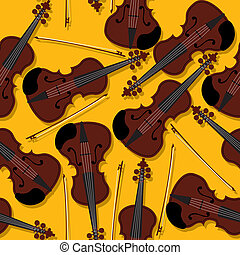 Violins and bow pattern - Violins and bow seamless pattern...