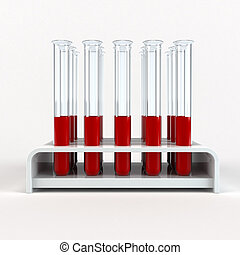 medical test-tube with blood samples 3d rendering