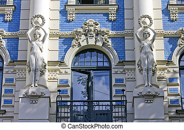 Jugendstil in Riga - Famous Jugendstil house in the Latvian...