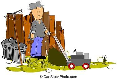 yard work  - man hard at work