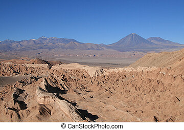 Volcan in Atacama desert - Valle de la Luna Moon valley near...