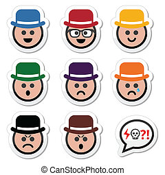 Man in hat faces vector icons set - Collection of man, boy...