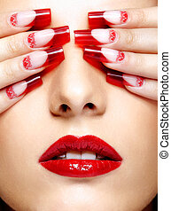 Acrylic nails manicure - Face with eyes closed by fingers...