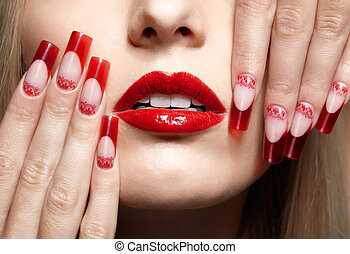 Acrylic nails manicure - Fingers with red french acrylic...