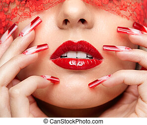Acrylic nails manicure - Woman part of face with eyes closed...