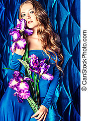 flowers spring - Portrait of a beautiful young lady with...