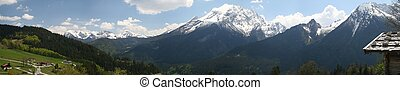Berchtesgaden alps - panoramic view over the Berchtesgaden...