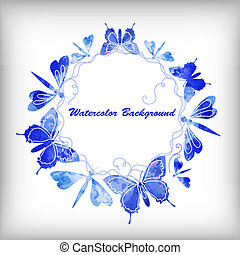 Abstract watercolor background with butterflies