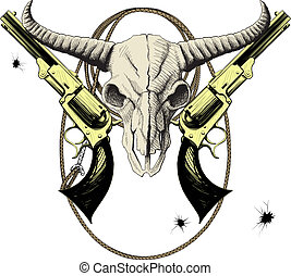 Wild West Mascot - Mascot of the Wild West with bison skull...