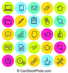 set of business and office icons Bright colors Line art