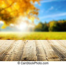 Autumn background with wooden planks - Autumn concept with...