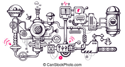 Vector industrial illustration background of the operating...