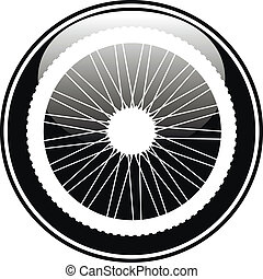 Bicycle wheel icon on white background. Vector illustration.