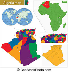 Algeria map with high detail and accuracy and it is divided...