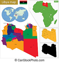Libya map - Administrative division of Great Socialist...