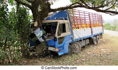 Traffic accident, truck hit tree on intercity road