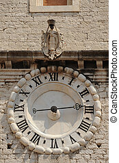 Sibenic architecture - Clockface of St. Ivan church of old...