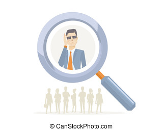 Vector illustration of a portrait of analyst man in a jacket...