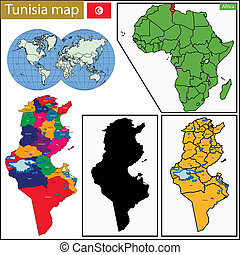 Tunisia map - Administrative division of the Republic of...