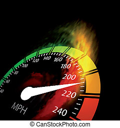 Speedometer with speed fire path Vector illustration on...