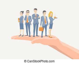 Vector illustration of a business team of young business...