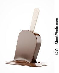 Melting chocolate ice cream isolated on a white background....