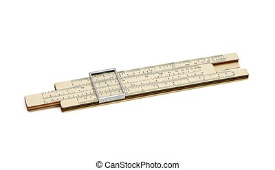 Old pocket slide rule mechanical calculator isolated - Old...