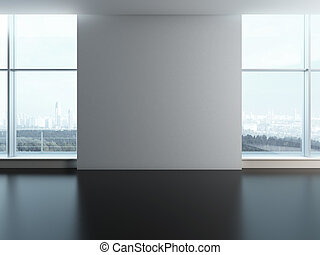 Office windows with blank wall