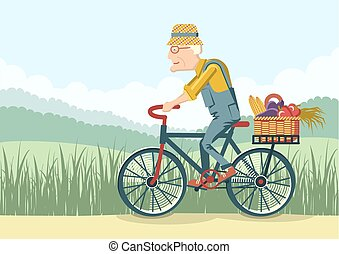 Old man drive by bike.Vector gardener - Pensioner drive by...