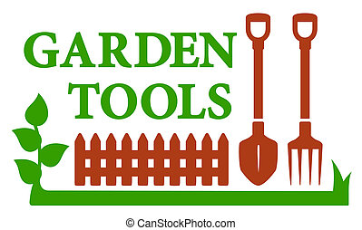 landscaping icon with garden tools - color landscaping icon...