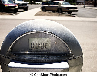 Parking Meter in Lot - Close up of parking meter showing...
