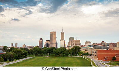 Indianapolis skyline during sunset, Indiana, USA