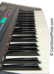 Keyboard of electric piano in perspective isolated
