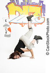 Women breakdancing - young women in the middle of a...