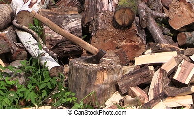 axe and big woodpile - zoom out of axe stuck to stump near...