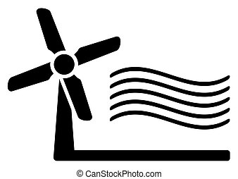 windmill and wind symbol - windmill and wind black...