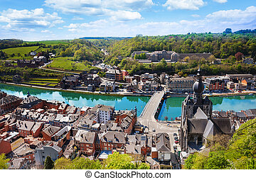 Top view of Dinant with Charles de Gaulle bridge - The top...